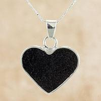 Volcanic ash heart necklace, 'Corazon' - Artisan Crafted Volcanic Ash and Sterling Silver Necklace