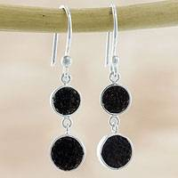 Volcanic ash dangle earrings, 'Moons of Fire' - Artisan Crafted Volcanic Ash and Sterling Silver Earrings