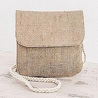 Jute shoulder bag, 'Nature's Details' - Trendy Jute Shoulder Bag with Cotton Strap