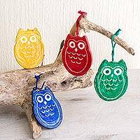 Recycled paper ornaments, 'Joyous Owls' (set of 4)