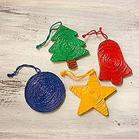 Recycled paper ornaments, 'Joyous Christmas' (set of 4) - Set of 4 Artisan Made Repurposed Paper Christmas Ornaments