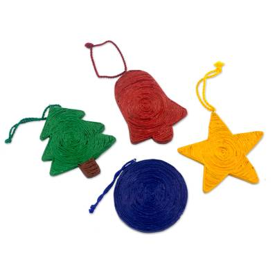 Recycled paper ornaments, 'Joyous Christmas' (set of 4) - Handcrafted Recycled Paper Christmas Ornaments (set of 4)