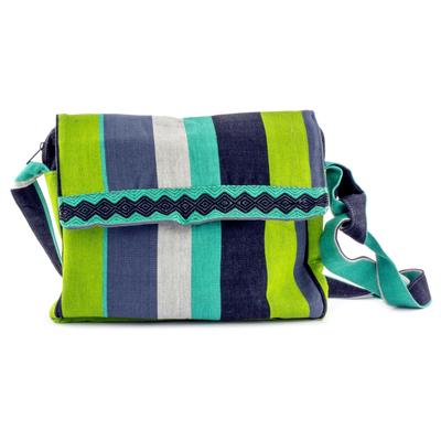 Cotton messenger bag, 'Luscious Green' - Handcrafted Cotton Messenger Bag Lined