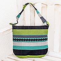 Cotton shoulder bag, 'Luscious Green' - Handcrafted Cotton Shoulder Bag Lined