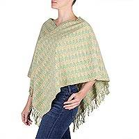 Cotton poncho, 'Golden Willow' - Organic Dyes Handwoven Cotton Poncho