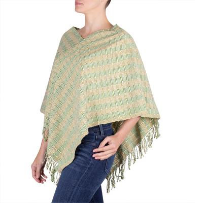 Organic Dyes Handwoven Cotton Poncho