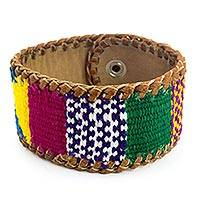 Leather and cotton wristband bracelet, 'Abundance' - Leather and Maya Weavings Bracelet