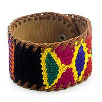 Leather and cotton wristband bracelet, 'Freedom' - Leather Bracelet with Maya Weaving