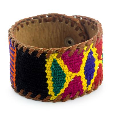 Leather Bracelet with Maya Weaving