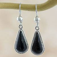 Jade dangle earrings, 'Dark Tear' - Artisan Crafted Sterling Silver Dark Jade Dangle Earrings