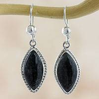 Jade dangle earrings, 'Dark Gaze' - Artisan Crafted Silver and Dark Jade Earrings