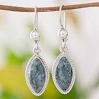 Jade dangle earrings, 'Green Gaze' - Artisan Crafted Silver and Dark Jade Earrings