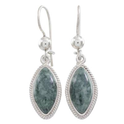 Artisan Crafted Silver and Dark Jade Earrings