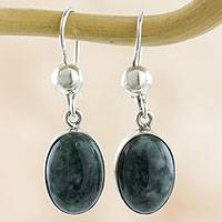 Jade dangle earrings, 'Voluptuous Green' - Modern Handmade Maya Jade Earrings