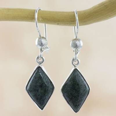 Jade dangle earrings, 'Verdant Diamond' - Guatemalan Green Jade Diamond Shape Earrings