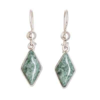 Jade dangle earrings, 'Verdant Diamond' - Guatemalan Green Jade Diamond Shape Earrings