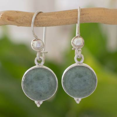 Jade dangle earrings, 'Three Wishes' - Modern Handmade Guatemalan Green Jade Earrings