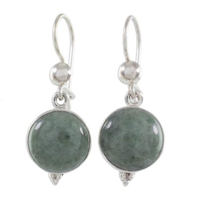 Modern Handmade Guatemalan Green Jade Earrings