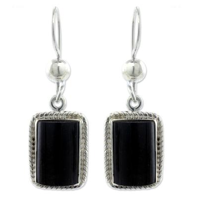 Black jade dangle earrings, 'Night Monument' - Handmade Guatemalan Black Jade Earrings