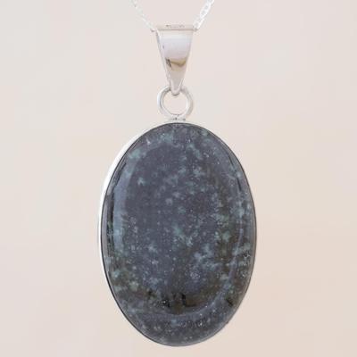 Reversible jade pendant necklace, 'Tikal Toucan' - Artisan Crafted Maya Theme Dark Jade Necklace