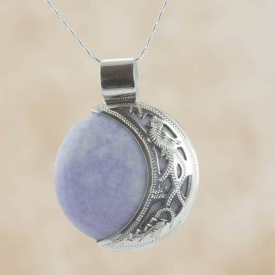 Reversible jade pendant necklace, 'Lilac Quetzal Eclipse' (medium) - Medium Maya Eclipse Lilac and Black Jade Silver Necklace