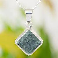 Jade pendant necklace, 'Dark Diamond' - Unique Guatemalan Green Jade and Sterling Silver Necklace