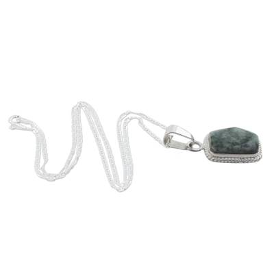 Jade pendant necklace, 'Rainforest Shadows' - Sterling Silver Green Jade Pendant Necklace
