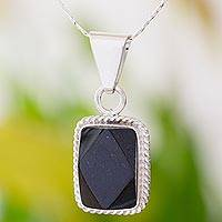 Black jade pendant necklace, 'Rainforest Night' - Sterling Silver Black Jade Pendant Necklace