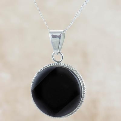 Black jade pendant necklace, 'Quetzal Moon' - Black Jade Medallion Sterling Silver Necklace