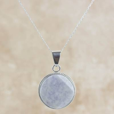 Reversible lilac jade pendant necklace, 'Lilac Quetzal Eclipse' (large) - Maya Eclipse Pendant Lilac Jade on Silver jewellery Lge