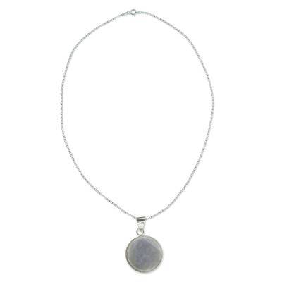Reversible lilac jade pendant necklace, 'Lilac Quetzal Eclipse' (large) - Maya Eclipse Pendant Lilac Jade on Silver Jewelry Lge
