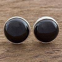 Jade stud earrings, 'Harmonious Peace in Black' - Round Black Jade Stud Earrings on Sterling Silver