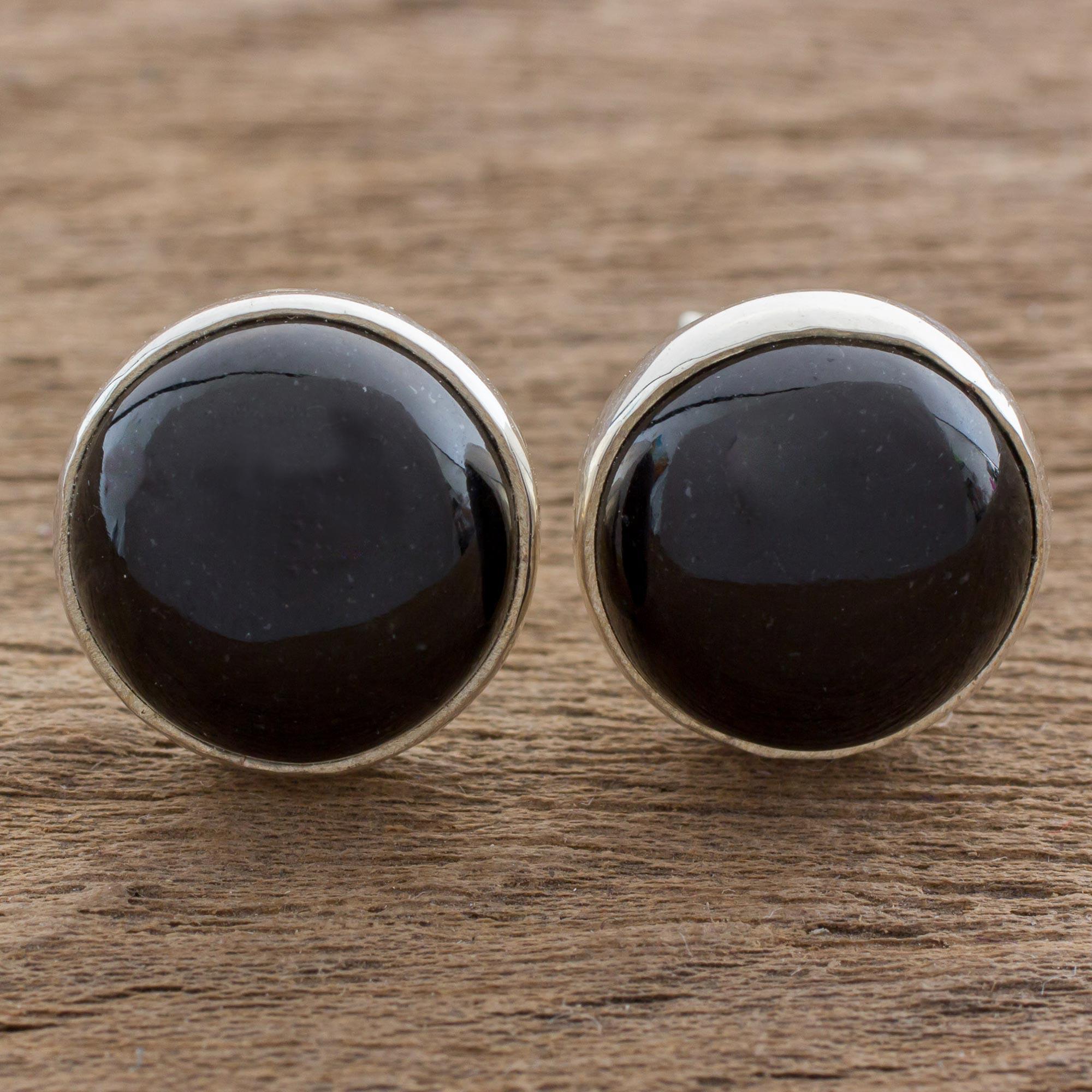 08c26c00b Unicef UK Market | Round Black Jade Button Earrings on Sterling ...