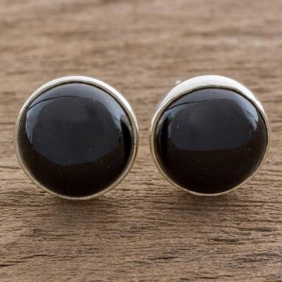 Jade stud earrings, 'Harmonious Peace in Black' - Round Black Jade Button Earrings on Sterling Silver