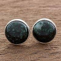 Jade stud earrings, 'Harmonious Peace in Dark Green' - Dark Green Jade Earrings Sterling Silver Artisan Jewelry