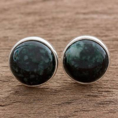 Jade Stud Earrings Harmonious Peace In Dark Green
