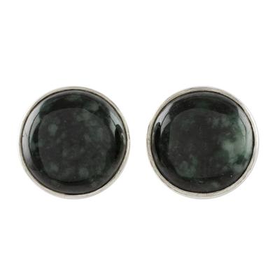 Jade stud earrings, 'Harmonious Peace in Dark Green' - Dark Green Jade Earrings Sterling Silver Artisan Jewelry