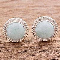 Jade button earrings, 'Life'