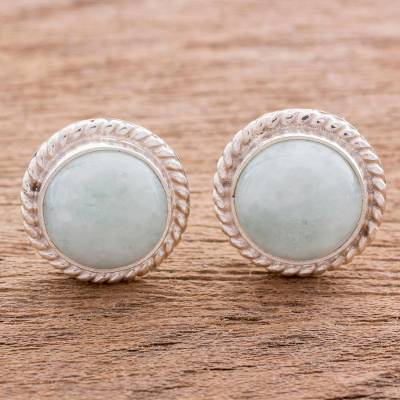 Jade button earrings, 'Life' - Elegant Jade Button Earrings in Sterling Silver