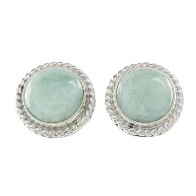 Jade button earrings, 'Life' - Elegant Jade Button Earrings in Sterling Silver