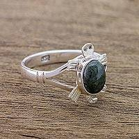 Jade cocktail ring, 'Dark Green Marine Turtle' - Sterling Silver Ring with Jade Artisan Crafted Jewelry