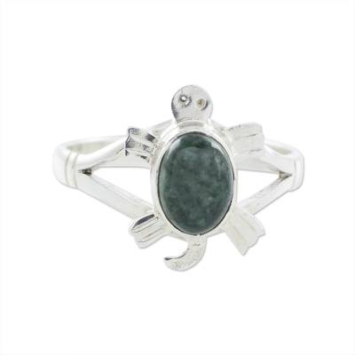 Sterling Silver Ring with Jade Artisan Crafted Jewelry