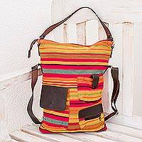 Cotton and leather accent shoulder bag, 'Rainbow Chic' - Handwoven Cotton and Leather Accent Shoulder Bag