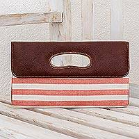Cotton and leather accent clutch bag, 'Coral Horizon' - Handwoven Cotton and Leather Accent Clutch Bag