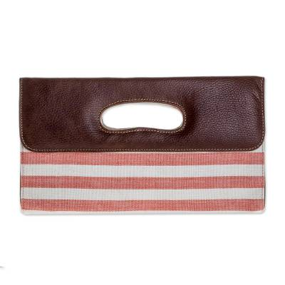 Novica Cotton and leather accent clutch bag, Coral Horizon