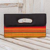 Cotton and leather accent clutch bag, 'Tutti Frutti Horizon' - Handwoven Cotton and Leather Accent Clutch Bag
