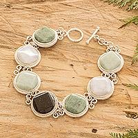 Jade link bracelet, 'Spectrum' - Modern Jade Toggle Bracelet