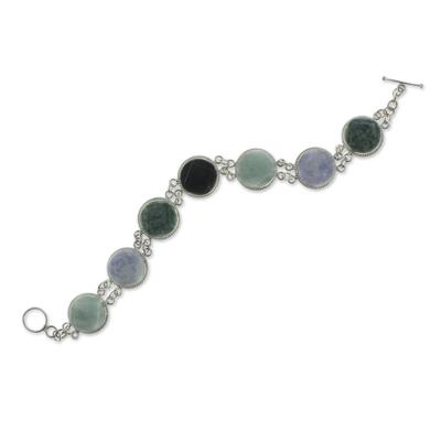 Jade link bracelet, 'Spectrum' - Green Black Lilac Jade Bracelet Silver Artisan Jewelry