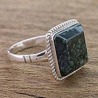 Jade cocktail ring, 'Life Itself' - Guatemala Artisan Crafted Jade Ring