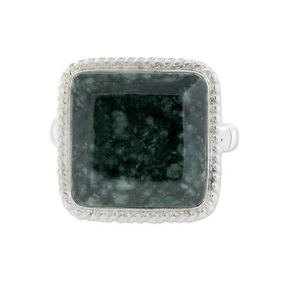 Jade cocktail ring, 'Life Itself' - Guatemala Artisan Crafted Jade Ring